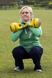 Julie - 2 x 16kg Kettlebell front squat